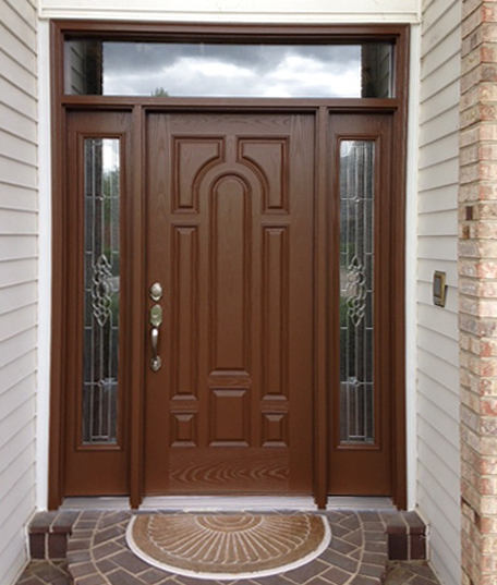Bon Masonite Textured Fiberglass Oak Door With Sidelites And Transom